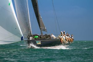 Photograph of yachts racing.
